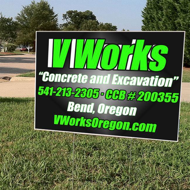 V Works Concrete And Excavation Yard Sign