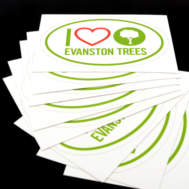 I Love Evanston Trees Oval Stickers