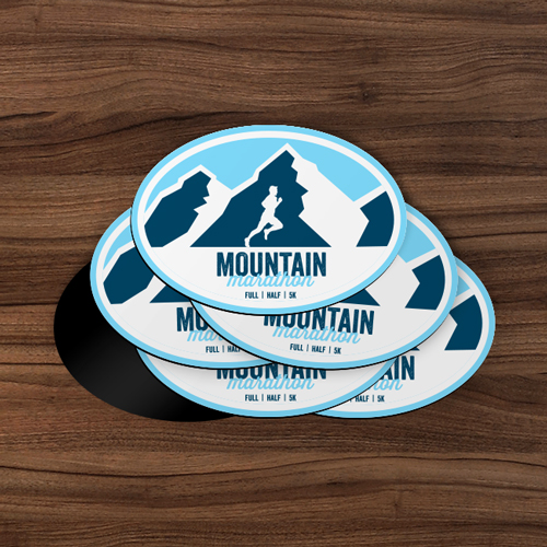 Mountain Marathon Oval Magnet