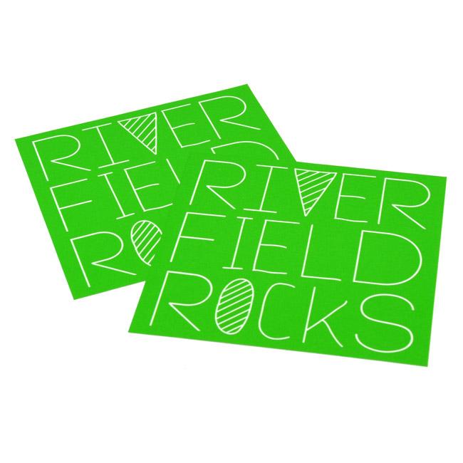 River Field Rocks Rectangle Sticker
