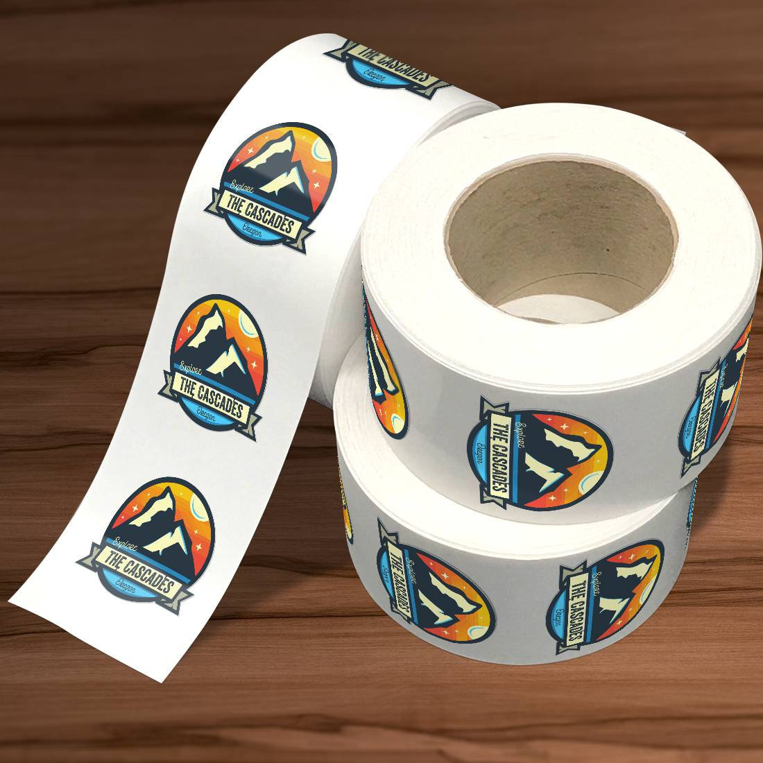 Explore The Cascades Roll Label Stickers