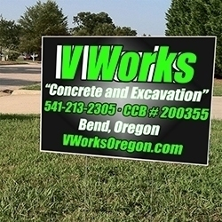 V Works Concrete And Excavation Yard Sign