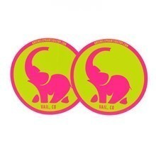 Green Elephant Circle Stickers