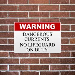 No Lifeguard On Duty Reflective Aluminum Sign