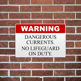 No Lifeguard On Duty Reflective Aluminum Sign