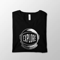 Black Explore Space V-Neck Shirt