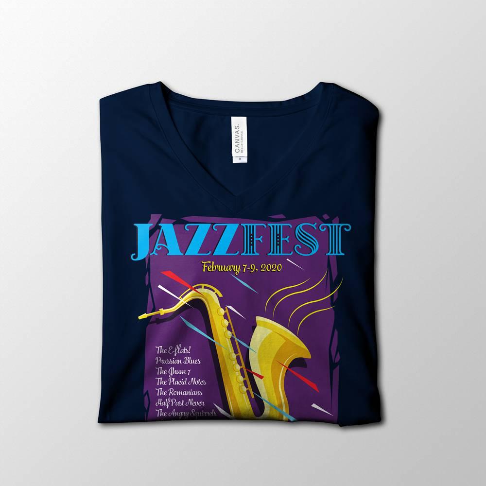 Navy Blue Jazzfest V-Neck Shirt