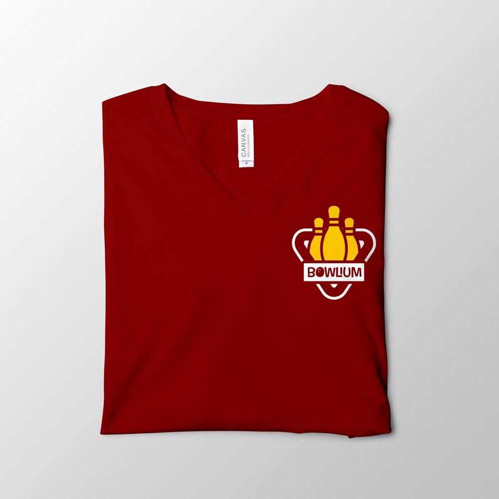 Red V-Neck Bowlium Shirt