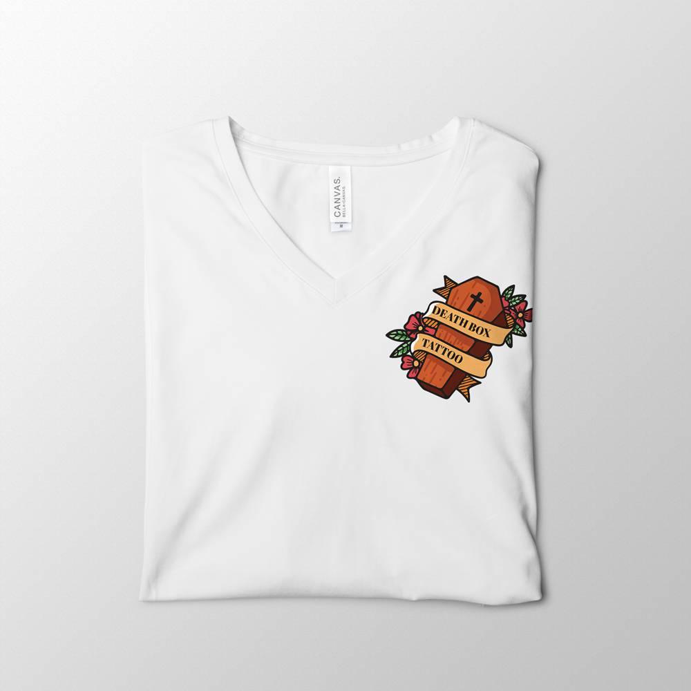 White V-Neck Tattoo Shirt