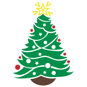 Shining Star Christmas Tree Wall Decal