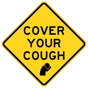 Cover Your Cough Caution Sign Sticker