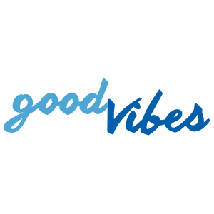 A 2-color Good Vibes handwritten wall quote decal