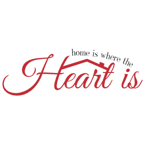 Home is where the Heart is wall quote decal with a roof