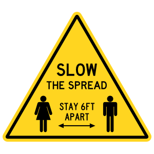 Slow The Spread Caution Sign Floor Sticker