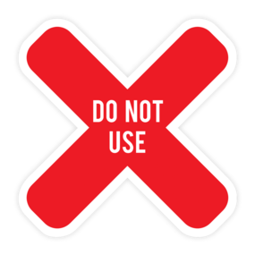 "Custom ""Do Not Use"" X Table Sticker"