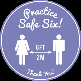 """Custom """"Practice Safe Six"""" Floor Stickers"""