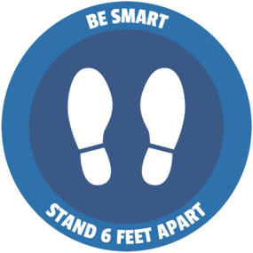 "Custom ""Be Smart Stay Apart"" Floor Stickers"